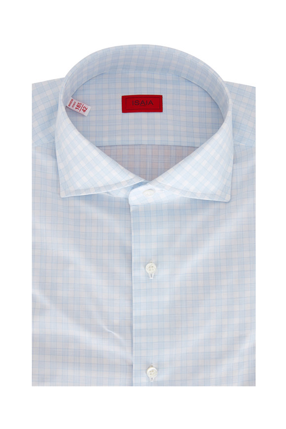 Isaia Light Blue Plaid Dress Shirt