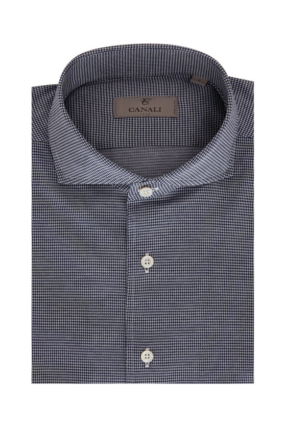 Canali Navy Blue Houndstooth Sport Shirt
