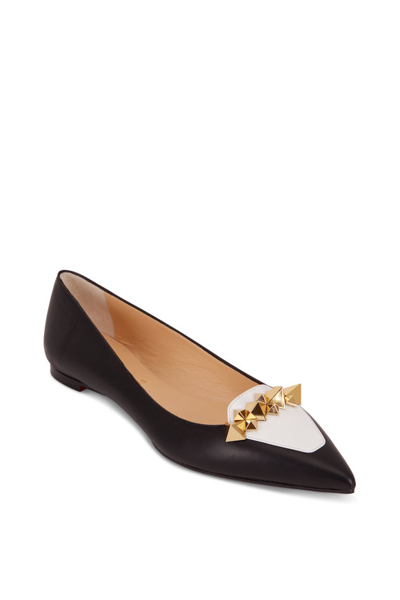 Christian Louboutin Miss Constella Black & White Nappa Spiked Flat