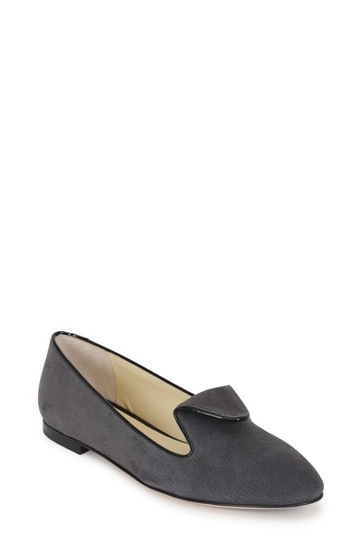 Sarah Flint - Andrea Slate Gray Suede Smoking Slipper
