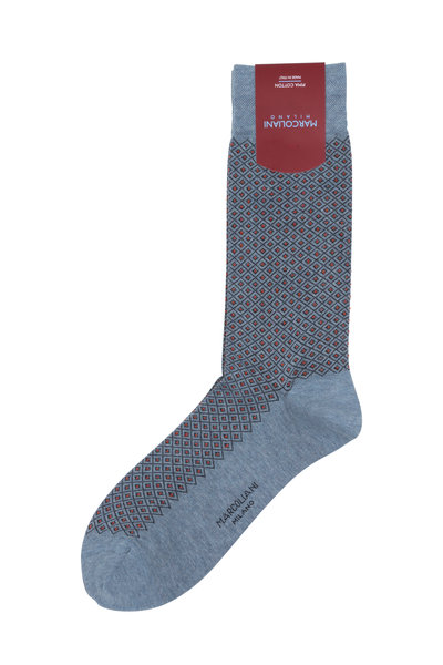 Marcoliani - Gray & Red Basket Pinpoint Socks