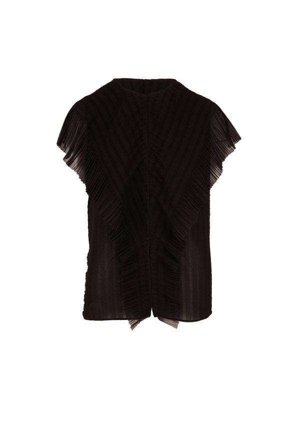 The Row Wiola Black Ruffled Dolman Sleeve Top