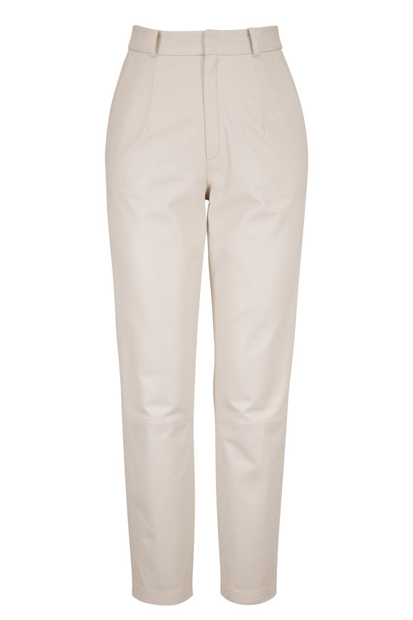 Mom White Leather Pant