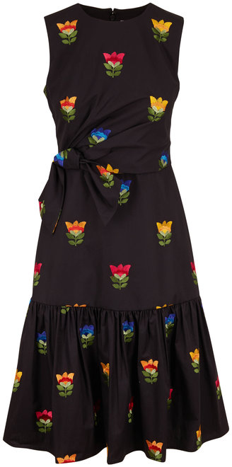 Carolina Herrera Black Front Bow Embroidered Sleeveless Dress
