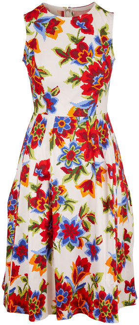 Carolina Herrera White Multi Cotton Floral Print Sleeveless Dress