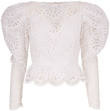 Carolina Herrera White Eyelet Dramatic Puffed Long Sleeve Blouse