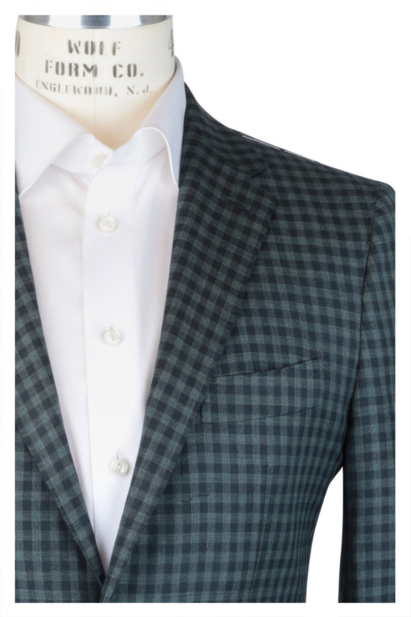 Mauro Blasi Forest Green & Sage Check Wool Sportcoat
