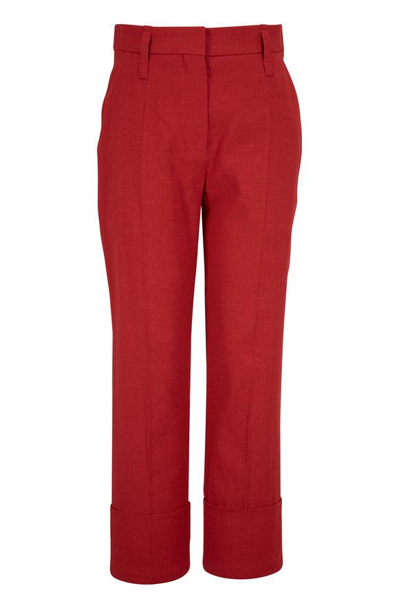 Brunello Cucinelli Red Linen & Cotton Cuffed Pant