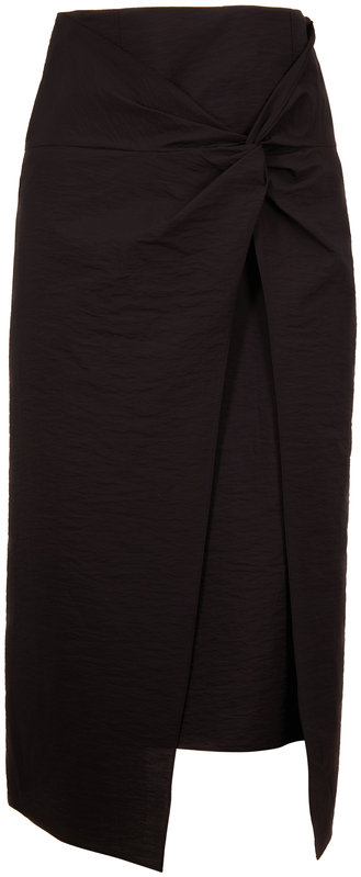 Brunello Cucinelli Exclusively Ours! Black Cotton Layered Midi Skirt