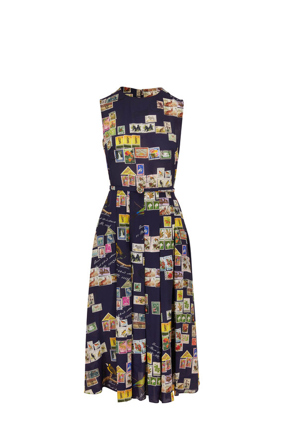 Oscar de la Renta Navy Silk Postcard Print Belted Sleeveless Dress