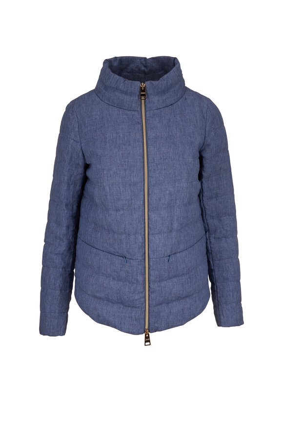 Herno Blue Linen Quilted Puffer Jacket