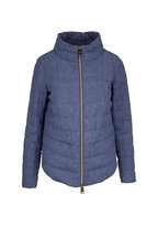 Herno - Blue Linen Quilted Puffer Jacket