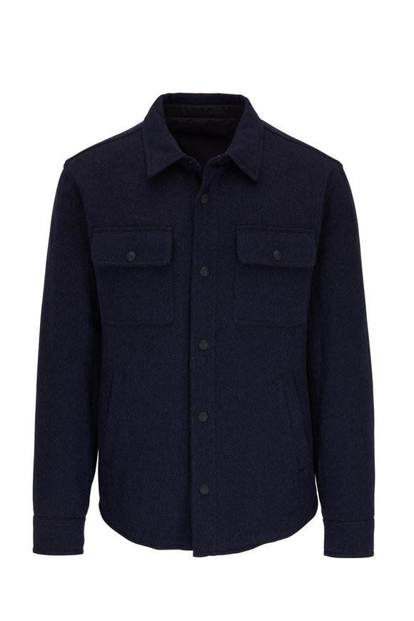 Ralph Lauren Navy Wool Blend Front Snap Jacket