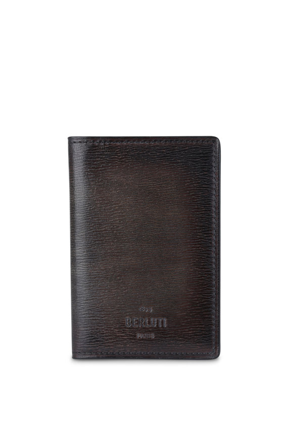 Berluti Dark Brown Textured Leather Card Case