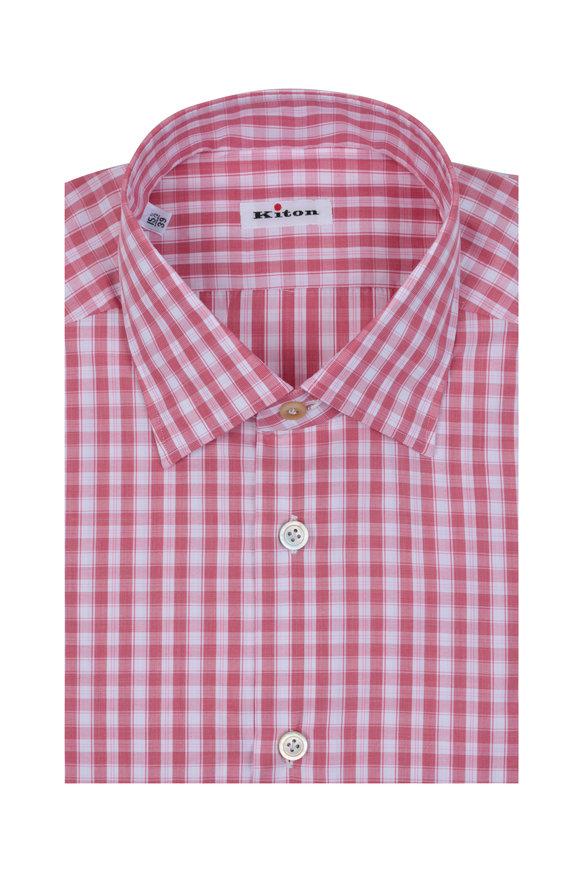 Kiton Red & White Plaid Dress Shirt