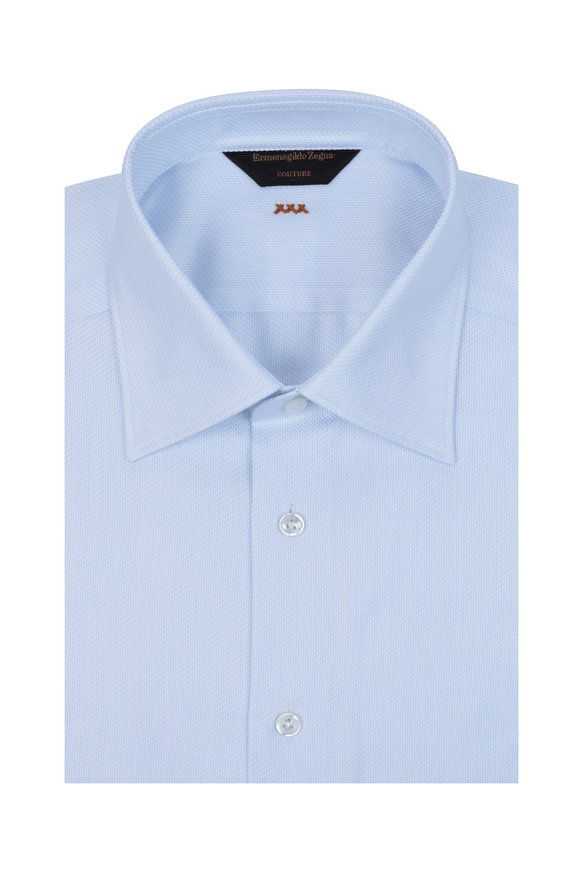 Ermenegildo Zegna White & Blue Couture Dress Shirt