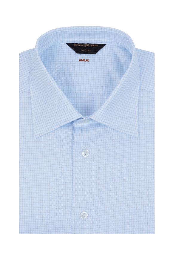 Ermenegildo Zegna Blue & White Check Couture Dress Shirt