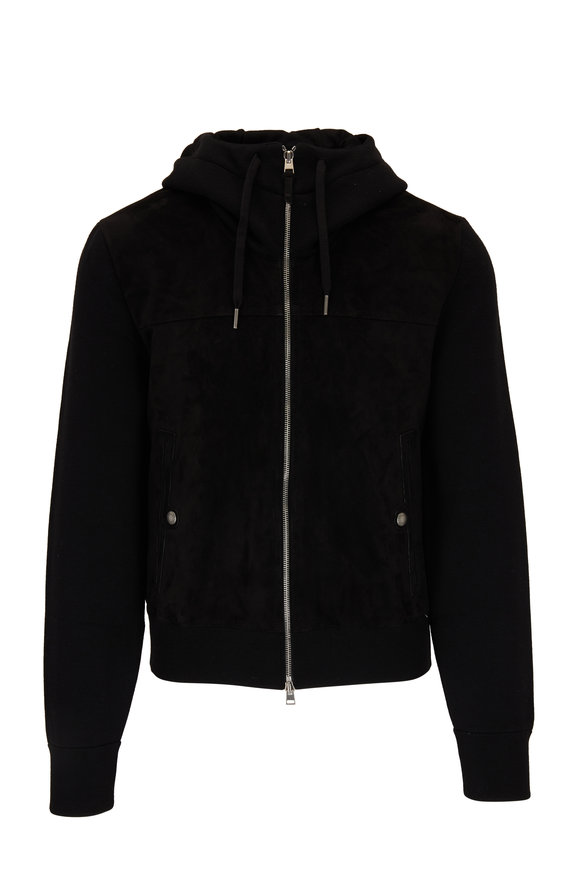 Tom Ford Black Wool & Suede Front Zip Hoodie