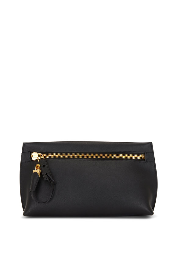 Tom Ford Alix Black Gained Leather Large Clutch