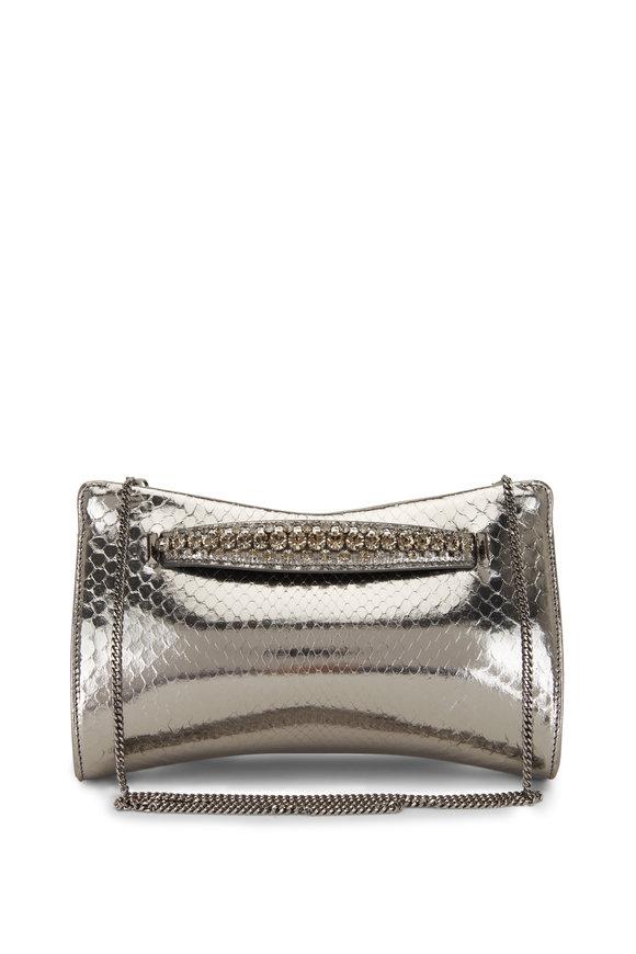 Jimmy Choo Venus Silver Python Crystal Bracelet Clutch