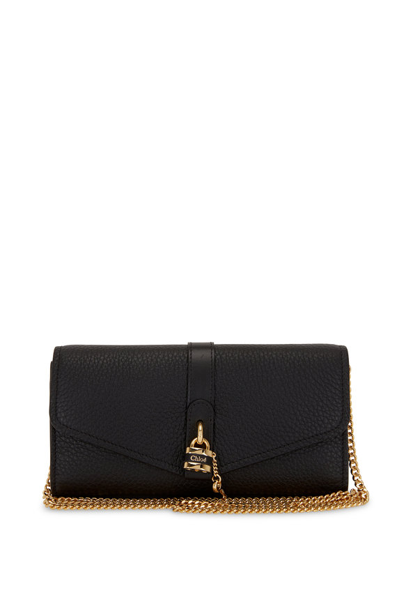 Chloé Aby Black Leather Padlock Chain Wallet