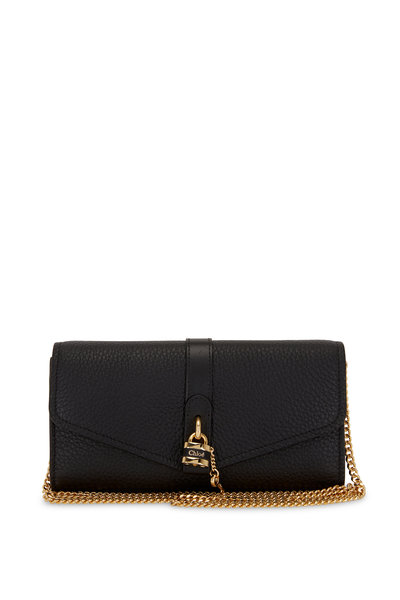 Chloé - Aby Black Leather Padlock Chain Wallet