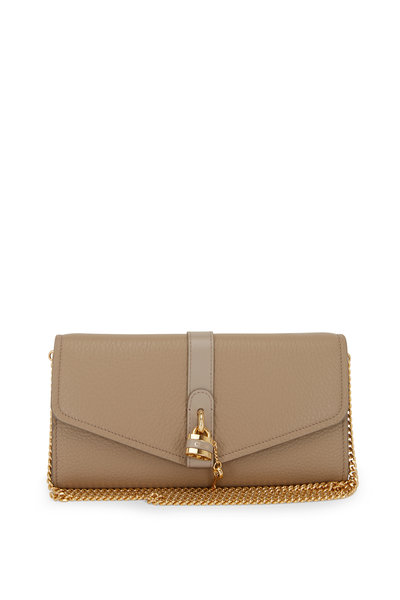 Chloé - Aby Motty Gray Leather Padlock Chain Wallet
