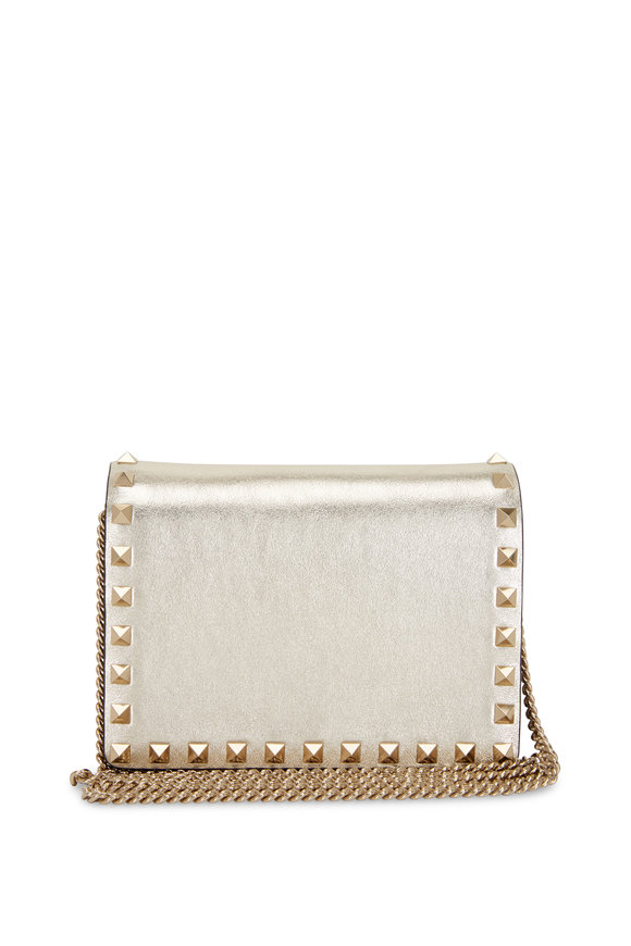 Valentino Garavani Rockstud Sahara Metallic Leather Pouch Crossbody