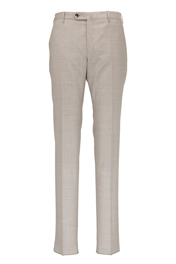 PT Torino Light Tan Wool Slim Fit Pant