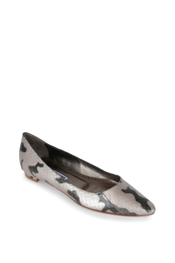 Manolo Blahnik Titto Silver Metallic Snake Print Leather Flat