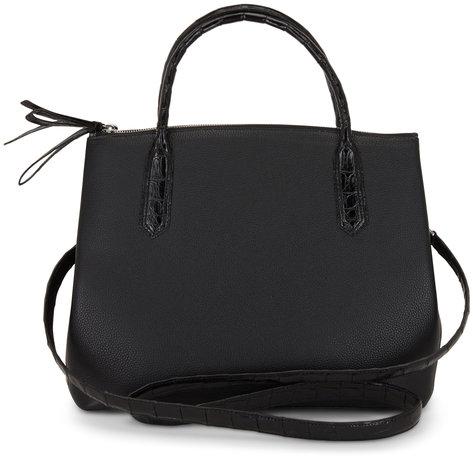 Nancy Gonzalez Black Grained Leather & Crocodile Medium Bag