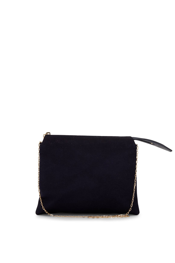 The Row Mini Nu Twin Navy Blue Satin Crêpe Bag