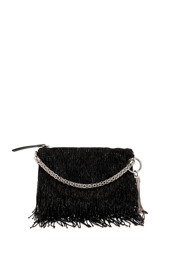 Jimmy Choo Callie Black Satin Beaded Fringe Evening Bag