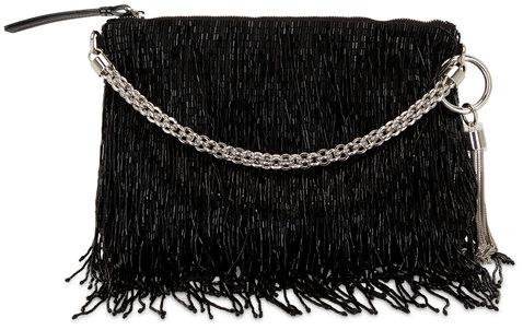 Jimmy Choo Callie Black Satin Beaded Fringe Evening Bag