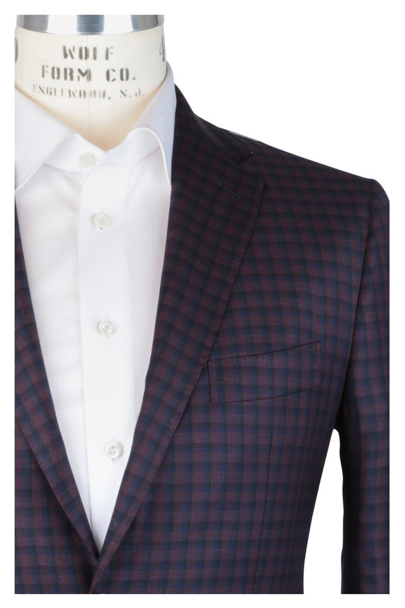 Mauro Blasi Burgundy & Blue Check Wool Sportcoat