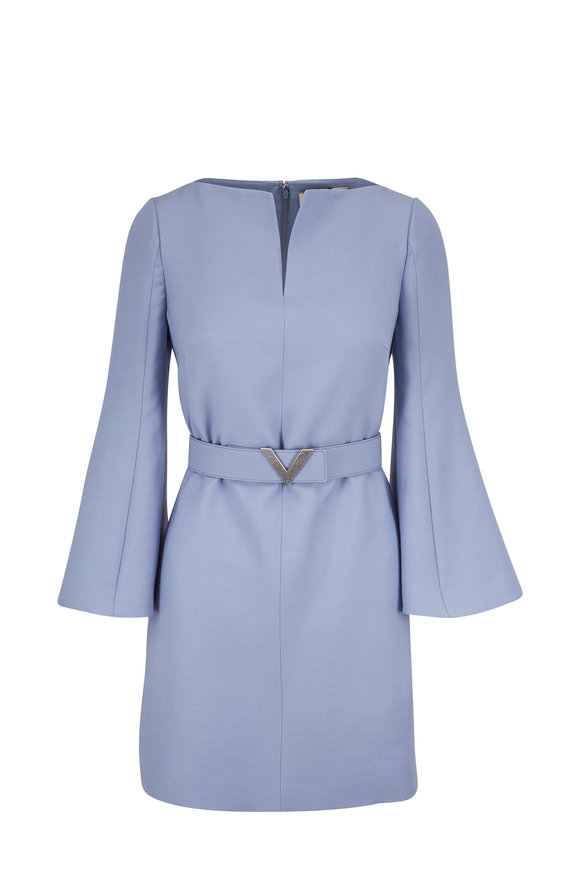 Valentino Cloud Blue Crepe Couture Belted Long Sleeve Dress