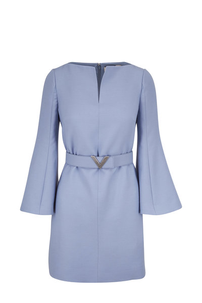 Valentino - Cloud Blue Crepe Couture Belted Long Sleeve Dress