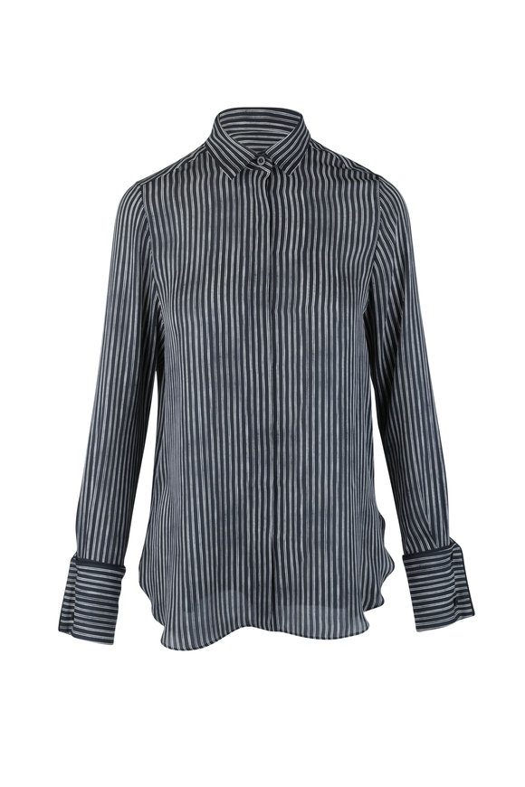 Oscar de la Renta Black & White Pinstriped Silk Blouse