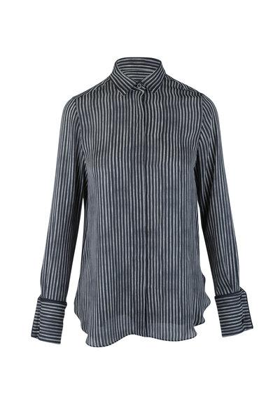 Oscar de la Renta - Black & White Pinstriped Silk Blouse