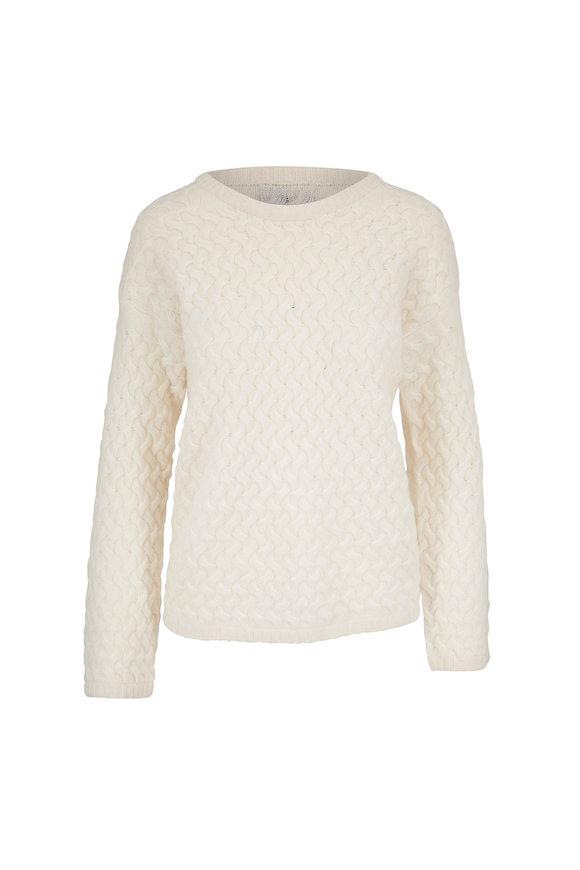 Jumper 1234 Ivory Cashmere Basket Weave Sweater