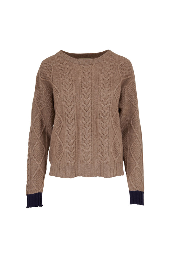 Jumper 1234 Dark Brown Cashmere Cable Knit Sweater