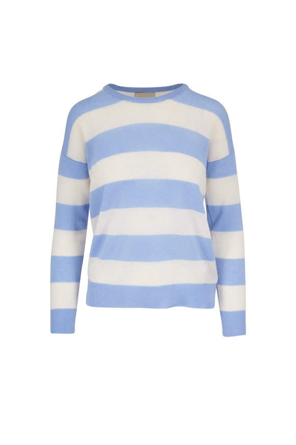 Jumper 1234 Sky & Organic White Striped Cashmere Sweater