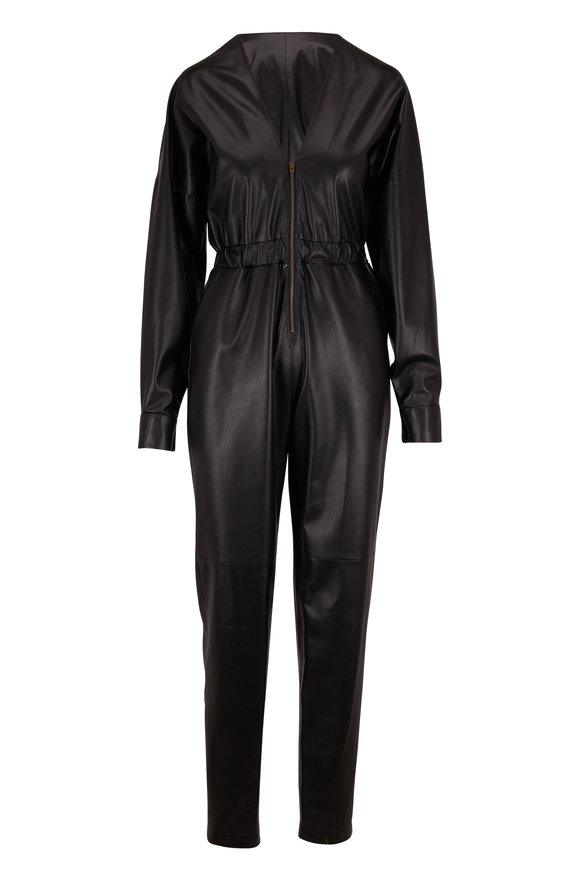 Zeynep Arcay Black Leather Front Zip Jumpsuit