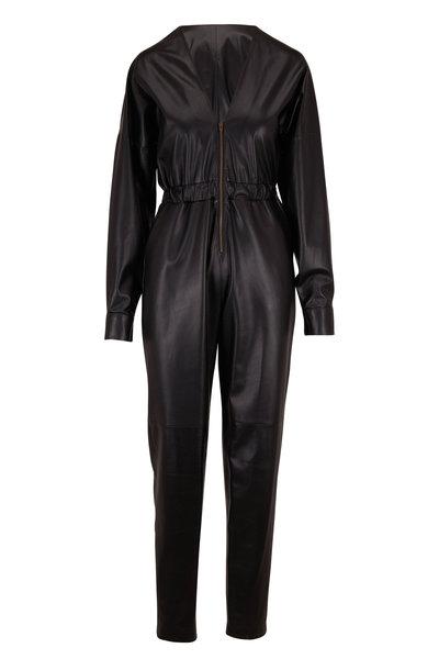 Zeynep Arcay - Black Leather Front Zip Jumpsuit