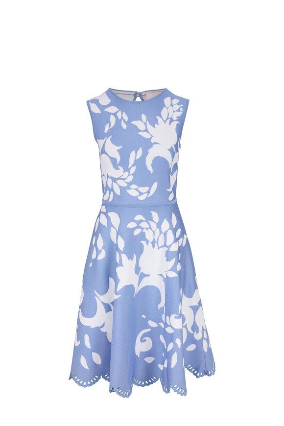 Carolina Herrera Cielo Multi Floral Jacquard Sleeveless Dress