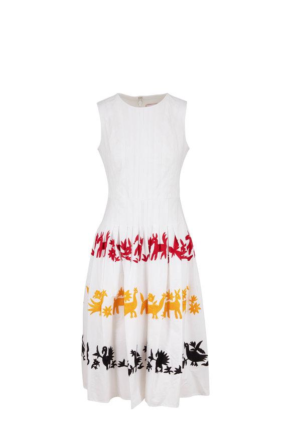 Carolina Herrera White Multi Embroidered Sleeveless A-Line Dress