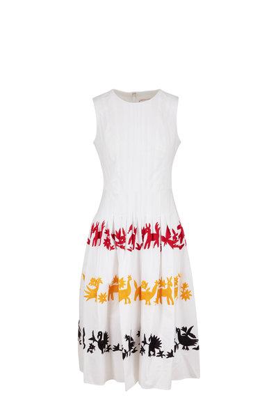 Carolina Herrera - White Multi Embroidered Sleeveless A-Line Dress