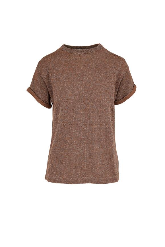 Brunello Cucinelli Sand Cotton & Lurex Short Sleeve Knit T-Shirt