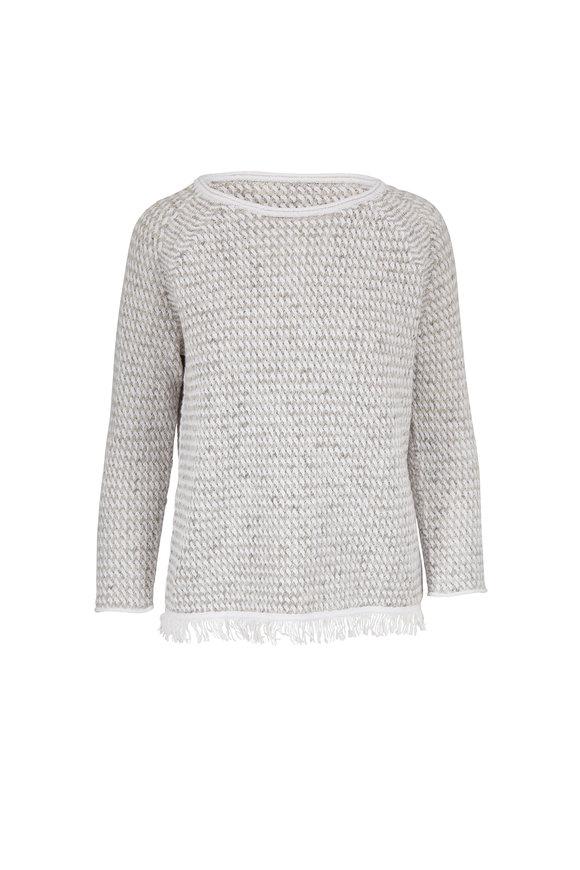 Kinross White & Pebble Lattice Knit Cotton Sweater