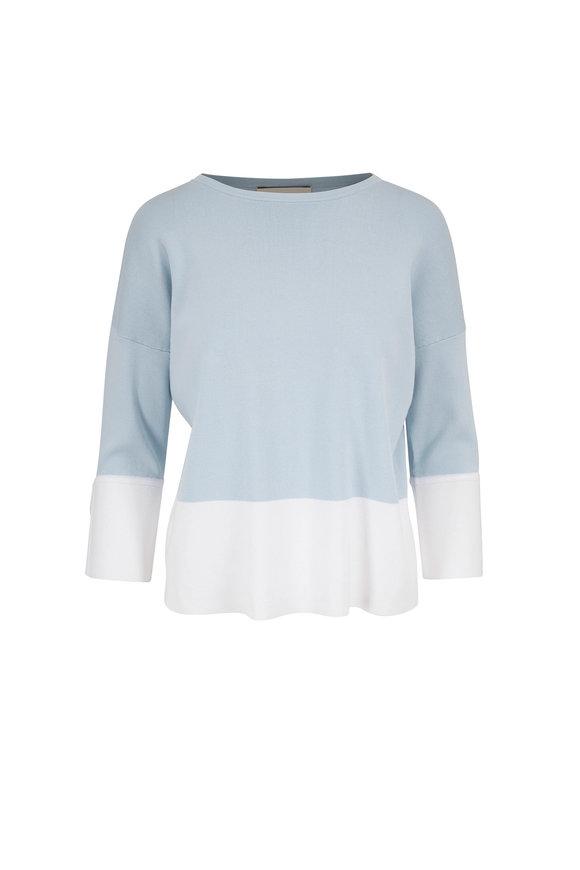 Kinross Opal & White Fine Gauge Cotton Sweater